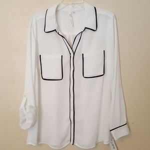 NY Collection NEW Women's Roll tab Blouse XL